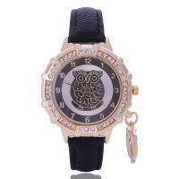 Damen Armbanduhr, Zinklegierung, mit PU Leder & Glas, goldfarben plattiert, für Frau & mit Strass, keine, frei von Nickel, Blei & Kadmium, 36mm, 14mm, 8mm, Länge:ca. 8.5 ZollInch, verkauft von PC