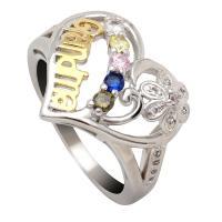 Messing Fingerring, Herz, plattiert, verschiedene Größen vorhanden & für Frau & mit Strass, frei von Nickel, Blei & Kadmium, verkauft von PC