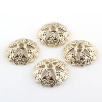 Zinklegierung Perlenkappe, Blume, goldfarben plattiert, frei von Blei & Kadmium, 19x6mm, Bohrung:ca. 2mm, 20PCs/Tasche, verkauft von Tasche