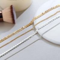 Zinklegierung Schmuck Halskette, plattiert, für Frau, frei von Blei & Kadmium, verkauft per ca. 24 ZollInch Strang