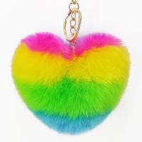 Pelzball Pom Pom Keychain, Zinklegierung, mit Imitierter Pelz, Herz, goldfarben plattiert, für Frau, farbenfroh, frei von Nickel, Blei & Kadmium, 100x150mm, verkauft von PC