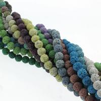 Natürliche Lava Perlen, rund, keine, 8mm, Bohrung:ca. 1mm, ca. 48PCs/Strang, verkauft per ca. 15 ZollInch Strang
