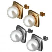 Edelstahl Ohrringe, mit Glasperlen, plattiert, für Frau, keine, 15x15x25mm, verkauft von Paar