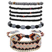 Seedbead kombiniertes Armband, mit Baumwollfaden & Harz & Zinklegierung, goldfarben plattiert, für Frau & Multi-Strang, keine, 45mm, verkauft per ca. 7 ZollInch Strang