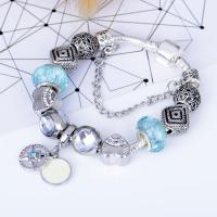 Zinklegierung European Armband, mit Lampwork, antik silberfarben plattiert, unterschiedliche Länge der Wahl & Schlangekette & für Frau & mit Strass, frei von Nickel, Blei & Kadmium, verkauft von Strang