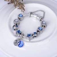 Zinklegierung European Armband, mit Kristall, antik silberfarben plattiert, unterschiedliche Länge der Wahl & Schlangekette & für Frau & Emaille & mit Strass, frei von Nickel, Blei & Kadmium, verkauft von Strang
