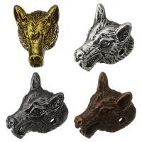 Messing Schmuckperlen, Wolf, plattiert, keine, 12x16x11mm, Bohrung:ca. 1.5mm, 50PCs/Menge, verkauft von Menge