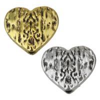 Zinklegierung Herz Perlen, plattiert, keine, frei von Nickel, Blei & Kadmium, 12x10.50x5mm, Bohrung:ca. 1.5mm, 100PCs/Menge, verkauft von Menge