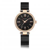 CURREN%C2%AE+Frauen+Schmuck+Uhr, Zinklegierung, mit Glas & Edelstahl, plattiert, für Frau & mit Strass, keine, 34mm, Länge:ca. 7.6 ZollInch, verkauft von PC