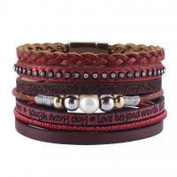 Rindsleder Armband, Kuhhaut, mit Perlen & Zinklegierung, plattiert, mehrschichtig & binden & für Frau & mit Strass, keine, frei von Nickel, Blei & Kadmium, 35.5mm, verkauft per ca. 7.6 ZollInch Strang