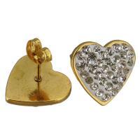 Edelstahl Ohrringe, mit Ton, Herz, goldfarben plattiert, für Frau, 16x15mm, 12PaarePärchen/Menge, verkauft von Menge