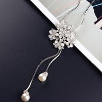 Zinklegierung Pullover Halskette, mit Glasperlen, Blume, plattiert, Schlangekette & für Frau & mit Strass, keine, frei von Nickel, Blei & Kadmium, verkauft per ca. 37.7 ZollInch Strang