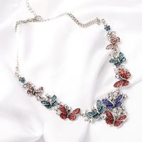 Kristall Zinklegierung Halskette, mit Kristall, plattiert, verschiedene Stile für Wahl & für Frau & mit Strass, frei von Nickel, Blei & Kadmium, verkauft per ca. 17.7 ZollInch Strang