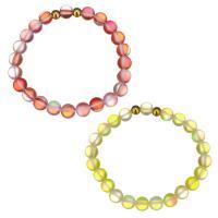 Edelstahl Armband, mit Glasperlen, goldfarben plattiert, für Frau, keine, 8mm, verkauft per ca. 7 ZollInch Strang
