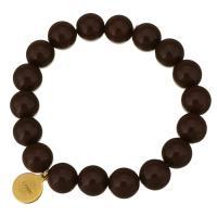 Edelstahl Armband, mit Glasperlen, goldfarben plattiert, für Frau, dunkelbraun, 12x15mm, 12mm, verkauft per ca. 8 ZollInch Strang