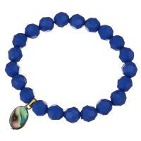 Edelstahl Armband, mit Glasperlen & Seeohr Muschel, goldfarben plattiert, für Frau, blau, 10x18mm, 10mm, verkauft per ca. 8 ZollInch Strang