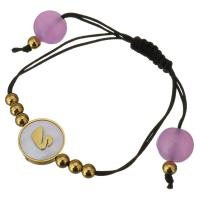 Edelstahl Woven Ball Armbänder, mit gefärbte Jade & Nylonschnur & Weiße Muschel, flache Runde, goldfarben plattiert, einstellbar & für Frau, 16mm, 4x5mm, verkauft per ca. 6-8 ZollInch Strang