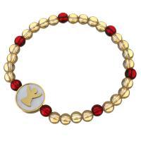 Edelstahl Armband, mit Glasperlen & Weiße Muschel, flache Runde, goldfarben plattiert, für Frau, 16mm, 6mm, verkauft per ca. 7 ZollInch Strang