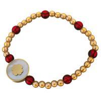 Edelstahl Armband, mit Glasperlen & Weiße Muschel, flache Runde, goldfarben plattiert, für Frau, 16mm, 4x4x.5mm, verkauft per ca. 6 ZollInch Strang