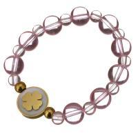 Edelstahl Armband, mit Glasperlen & Weiße Muschel, flache Runde, goldfarben plattiert, für Frau, 16mm, 10mm, verkauft per ca. 6 ZollInch Strang