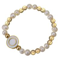 Edelstahl Armband, mit Glasperlen & Weiße Muschel & Glasperlen, flache Runde, goldfarben plattiert, für Frau, 16mm, 6mm, verkauft per ca. 7 ZollInch Strang