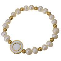 Edelstahl Armband, mit Weiße Muschel & Glasperlen, flache Runde, goldfarben plattiert, für Frau, 16mm, 4x5mm, verkauft per ca. 7 ZollInch Strang
