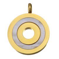 Edelstahl Schmuck Anhänger, mit Weiße Muschel, Kreisring, goldfarben plattiert, 22x28x6mm, Bohrung:ca. 4mm, verkauft von PC