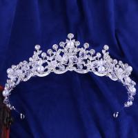 Krone, Zinklegierung, mit Kristall, plattiert, für Braut & mit Kunststoff-Perlen & mit Strass, keine, frei von Blei & Kadmium, 155x45mm, verkauft von PC