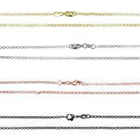 Messingkette Halskette, Messing, plattiert, unisex & Rolo Kette, keine, 2mm, 30SträngeStrang/Strang, verkauft per ca. 27 ZollInch Strang