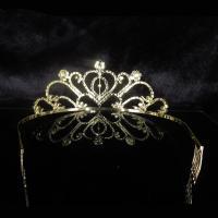 Krone, Zinklegierung, mit Strass, plattiert, für Braut & mit kubischem Zirkonia, keine, frei von Blei & Kadmium, 160x70mm, verkauft von PC
