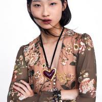 Zinklegierung Pullover Halskette, mit Baumwollsamt, Herz, goldfarben plattiert, für Frau & Emaille, frei von Nickel, Blei & Kadmium, verkauft per ca. 25.6 ZollInch Strang