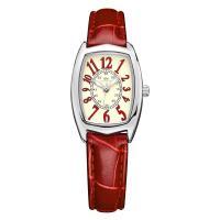 DOM® Uhrenkollektion, Edelstahl, mit Leder & Glas, plattiert, für Frau, rot, 32x23.5mm, Länge:ca. 7.4 ZollInch, verkauft von PC