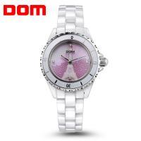 DOM® Uhrenkollektion, Porzellan, mit Glas & Edelstahl, plattiert, für Frau & mit Strass, weiß, 33mm, Länge:ca. 7.2 ZollInch, verkauft von PC