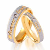 Edelstahl Paar- Ring, goldfarben plattiert, verschiedene Größen vorhanden & verschiedene Stile für Wahl & mit Brief Muster & mit Strass, 4mm, 6mm, verkauft von PC