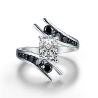 Zirkonia Micro Pave Sterling Silber Ringe, 925 Sterling Silber, silberfarben plattiert, verschiedene Größen vorhanden & Micro pave Zirkonia & für Frau, keine, 6x8mm, verkauft von PC