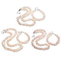 Natürliche kultivierte Süßwasserperlen Schmucksets, Armband & Halskette, mit Messing, mit Verlängerungskettchen von 4cm, Kartoffel, silberfarben plattiert, für Frau & 3-Strang, keine, 5x7mm, Länge:ca. 6.7 ZollInch, ca. 17.7 ZollInch, verkauft von setzen