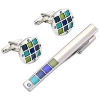 Messing Krawattennadel & Manschettenknopf, silberfarben plattiert, für den Menschen & Emaille & mit Strass, frei von Nickel, Blei & Kadmium, 56x6mm, 18x18mm, verkauft von Paar