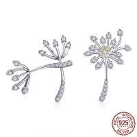Sterling Silber Schmuck Ohrring, 925 Sterling Silber, Löwenzahn, platiniert, Micro pave Zirkonia & für Frau, 14x20mm, Bohrung:ca. 4.5-5mm, verkauft von Paar