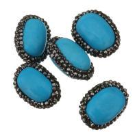 Synthetische Türkis Perle, mit Ton, Klumpen, 16-17x22-24x12-14mm, Bohrung:ca. 0.5mm, 10PCs/Menge, verkauft von Menge