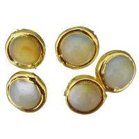 Barock kultivierten Süßwassersee Perlen, Natürliche kultivierte Süßwasserperlen, mit Messing, goldfarben plattiert, 15x11mm, Bohrung:ca. 1mm, 10PCs/Menge, verkauft von Menge