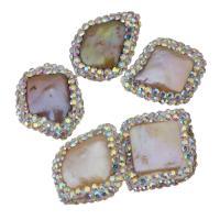 Natürliche kultivierte Süßwasserperlen Perle, mit Ton, Klumpen, 17-21x19-23x4-7mm, Bohrung:ca. 0.5mm, 10PCs/Menge, verkauft von Menge