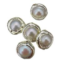 Natürliche kultivierte Süßwasserperlen Perle, mit Messing, Klumpen, silberfarben plattiert, 12x12-14x8-10mm, Bohrung:ca. 0.5mm, 10PCs/Menge, verkauft von Menge