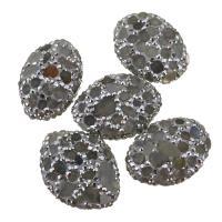 Strass Ton befestigte Perlen, Lehm pflastern, mit Labradorit, mit Strass, 19-21x26-28x10-11mm, Bohrung:ca. 1mm, 10PCs/Menge, verkauft von Menge