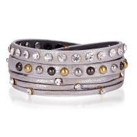 PU Leder Wrap Armband, mit Zinklegierung, plattiert, für Frau & mit Strass, keine, 10mm, verkauft per ca. 23.6 ZollInch Strang