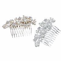 Braut Dekoratives Haarkämmchen, Zinklegierung, mit Kunststoff Perlen, plattiert, für Braut & mit Strass, keine, frei von Nickel, Blei & Kadmium, 120x60mm, verkauft von PC