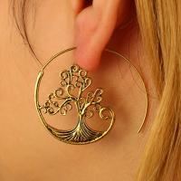 Zinklegierung Ohrringe, goldfarben plattiert, für Frau, frei von Blei & Kadmium, 45x40mm.47mm.37mm, verkauft von Paar
