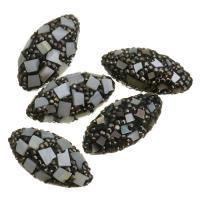 Strass Ton befestigte Perlen, Lehm pflastern, mit Muschel, mit Strass, 15x30x15mm, Bohrung:ca. 1mm, 10PCs/Menge, verkauft von Menge