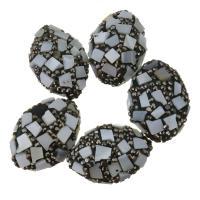 Strass Ton befestigte Perlen, Lehm pflastern, mit Muschel, mit Strass, 18-20x26-28x11-12mm, Bohrung:ca. 1mm, 10PCs/Menge, verkauft von Menge
