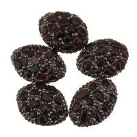 Strass Ton befestigte Perlen, Lehm pflastern, mit Granat, mit Strass, 20-22x28-30x12-13mm, Bohrung:ca. 1mm, 10PCs/Menge, verkauft von Menge