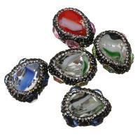 Natürlicher Quarz Perlen Schmuck, mit Ton, 20-21x25-26x15-16mm, Bohrung:ca. 1mm, 10PCs/Menge, verkauft von Menge